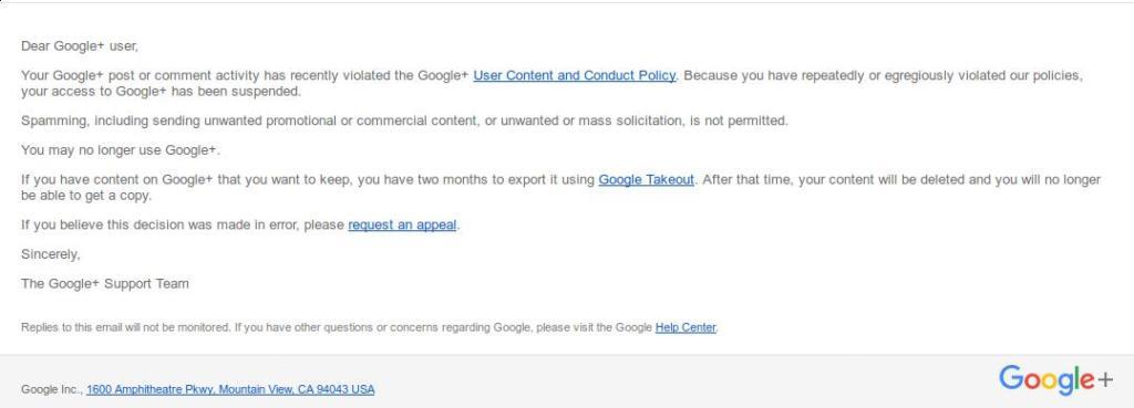 Google email saying I no longer had a G+ account. At all.