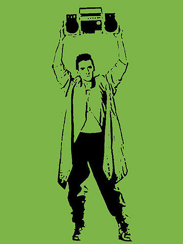 "Illustration of a man holding a boom box as in ""Say Anything"""